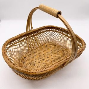 VINTAGE Woven Oblong Basket Bamboo Handle